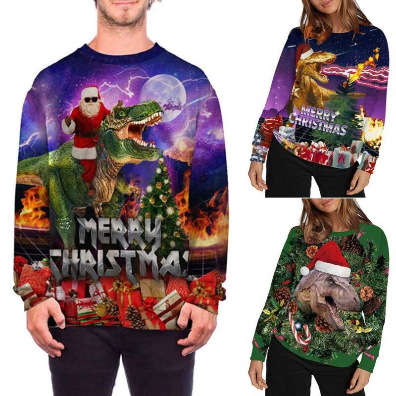 Xmas Women Men Ugly Sweater Pullover Christmas Dinosaur Swea