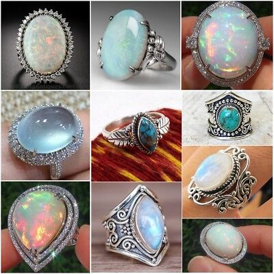 925 Silver Ring Woman Fire Opal Moon Stone Turquoise Wedding Engagement Size5-10 5 Stone Silver Ring