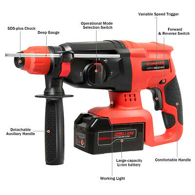 20v Cordless Lithium-ion Sds Plus Hammer Drill 3 Mode Drill Bitscase Tool