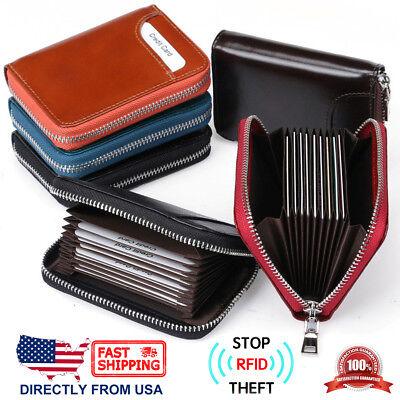 Unisex RFID Block Full Grain Leather Zip Around Secure Credit Card Holder (Full Leather Wallet)