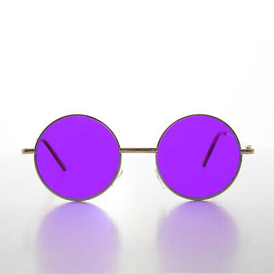 Round Hippy Purple Lens John Lennon Gold Frame Sunglass -Tippy Frame Purple Lens