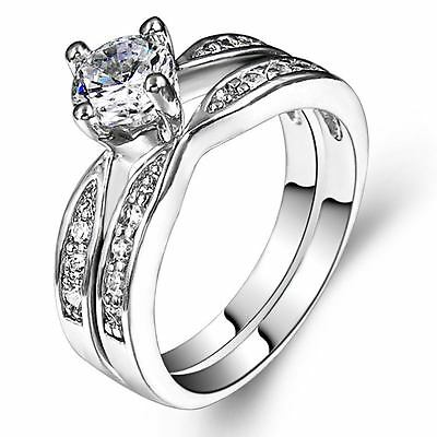 Size I-W 925 Sterling Silver Ring Wedding Engagement Halo Bridal Anniversary