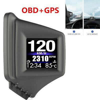 Car HUD Head Up Display GPS+OBD2 Speedometer Overspeed Warning Clear Code Gauge