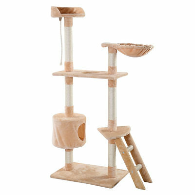New Cat Tree Tower Beige Condo Scratcher Furniture Kitten Pet House Hammock 60