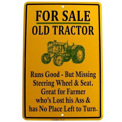 For Sale Old Tractor Funny Tin Sign Us Made Novelty Garage Shop Bar Wall Decor