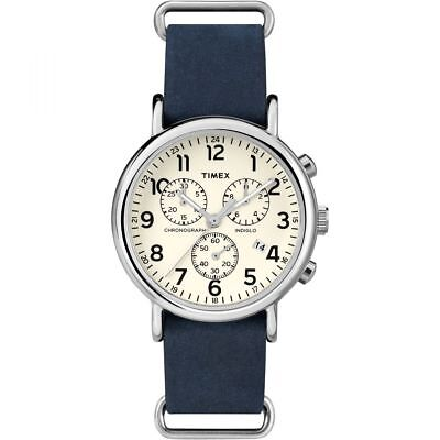 Timex Weekender Men's Blue Leather Steel Chronograph Indiglo Watch TW2P62100