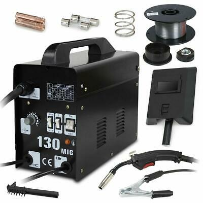 Mig 130 Welding Machine Welder Gas Less Flux Core Wire Automatic Feed W Mask