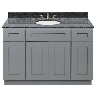 Vanity Cabinet 48 Colonial Gray, Granite Top Blue Butterfly, Faucet LB4B