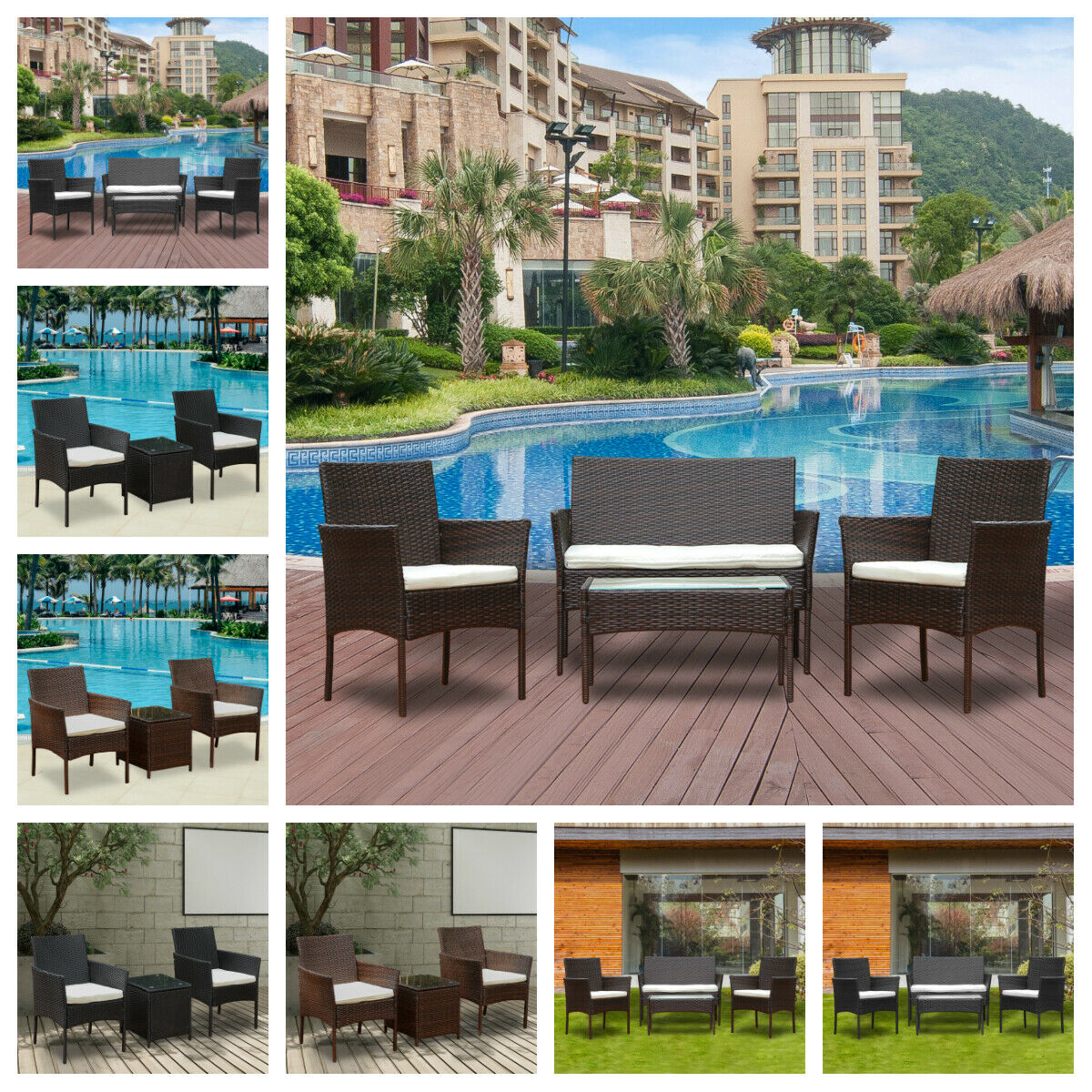 Garden Furniture - 3/4Pcs Rattan Garden Furniture Conservatory Sofa Patio Table Chair Set Outdoor