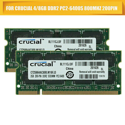 Original For Crucial 4/8GB DDR2 PC2-6400S 800MHz 200pin Laptop SODIMM Memory -