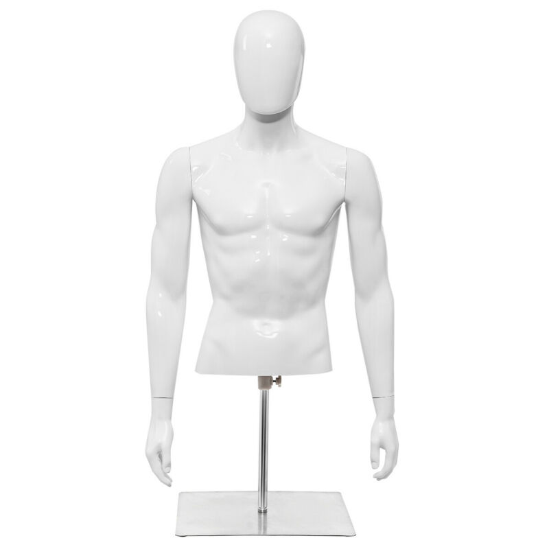 Male Mannequin Realistic Plastic Half Body Head Turn Dress Form Display w/Base