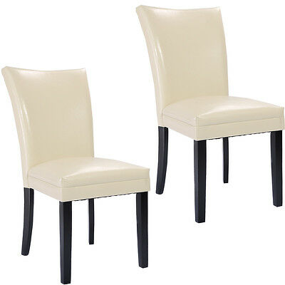 Set of 2 Swanky Design PU Leather Accent Dining Chairs Modern Home Furniture