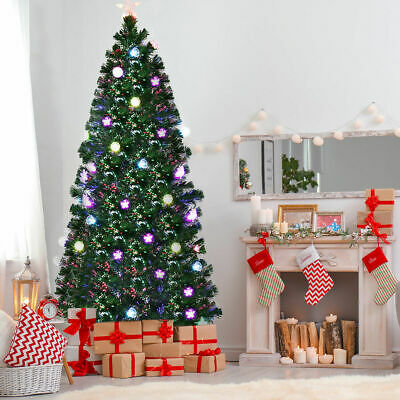7Ft Pre-Lit Fiber Optic Artificial Christmas Tree w/ Multicolor Lights & Stand ()