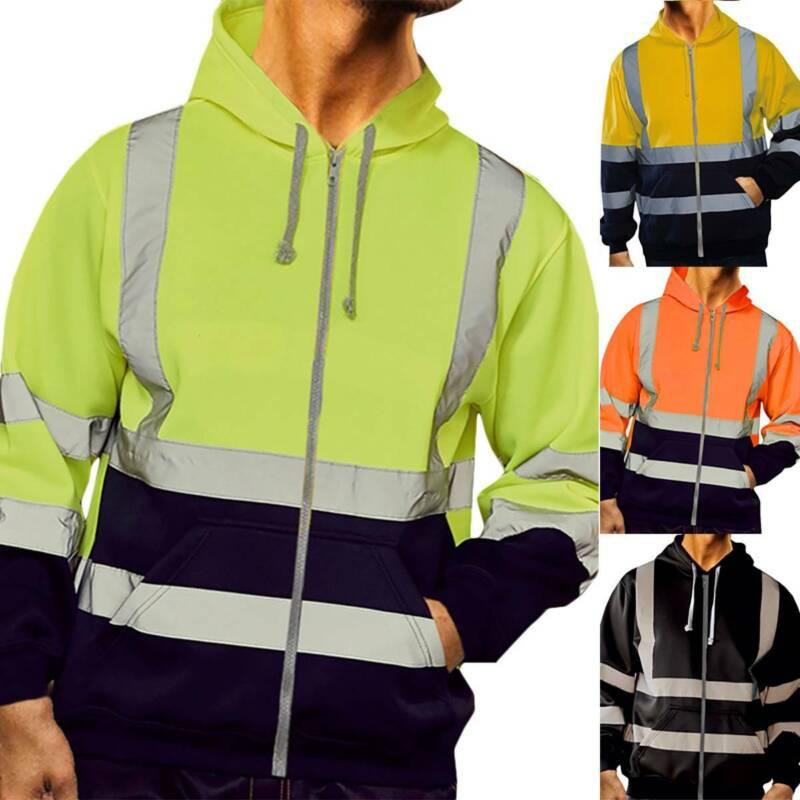 Hi Viz High Visibility Work Jacket Coat Mens Reflective Safe