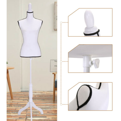 Female Mannequin Torso Dress Clothing Form Display White Tripod Stand Body Women