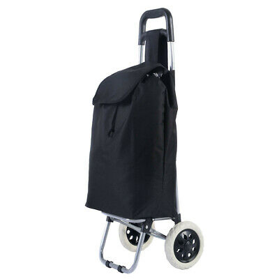 Black Wheeled Shopping Trolley Cart Waterproof Rolling Basket Bag Large Capacity