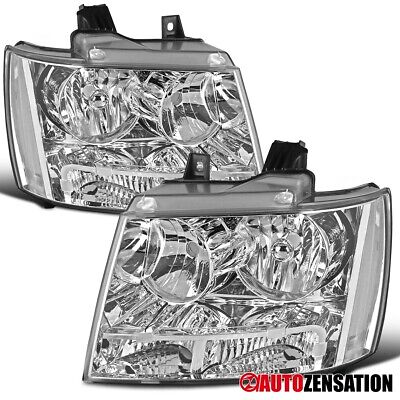 For 2007-2014 Chevy Tahoe Suburban Clear Headlights Signal Parking Lamps Pair