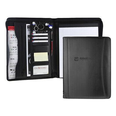 Black Professional Business Leather Padfolio Portfolio Resume Organizer Folder