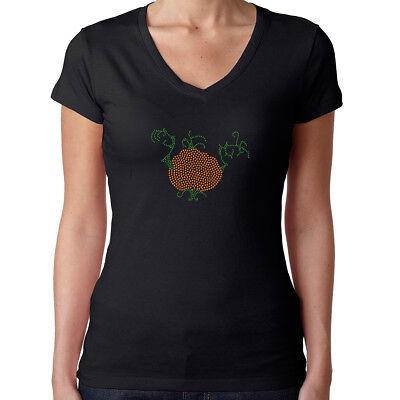 Womens T-Shirt Rhinestone Bling Black Fitted Tee Pumpkin Halloween - Womens Rhinestone Halloween Shirts