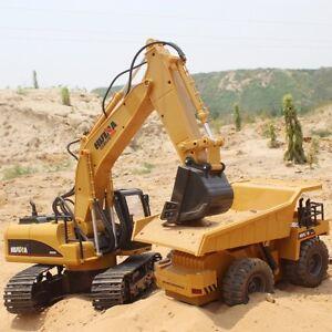 Remote Control RC Excavator & 4WD Dump Truck Combo Bulldozer Metal Bucket
