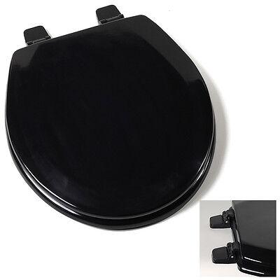 Deluxe Black Round Wood Toilet Seat, Adjustable Hinges Bath