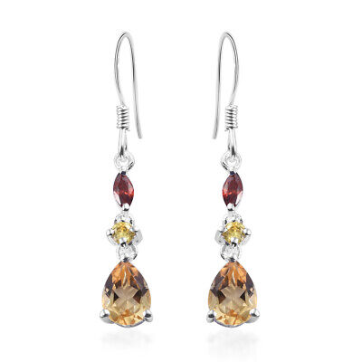 Citrine Yellow Cubic Zirconia CZ 925 Sterling Silver Dangle Tear Drop Earrings Natural Citrine Earring