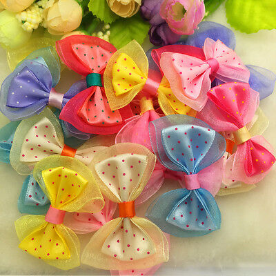 New 10Pcs Mix Color Lace Satin Ribbon BOW Appliques Craft Wedding Decoration