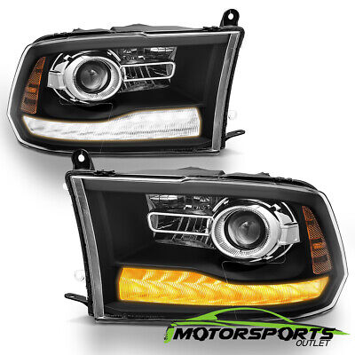 For 2013-2018 Ram Stock Projector Models Black LED DRL Projector Headlights Pair