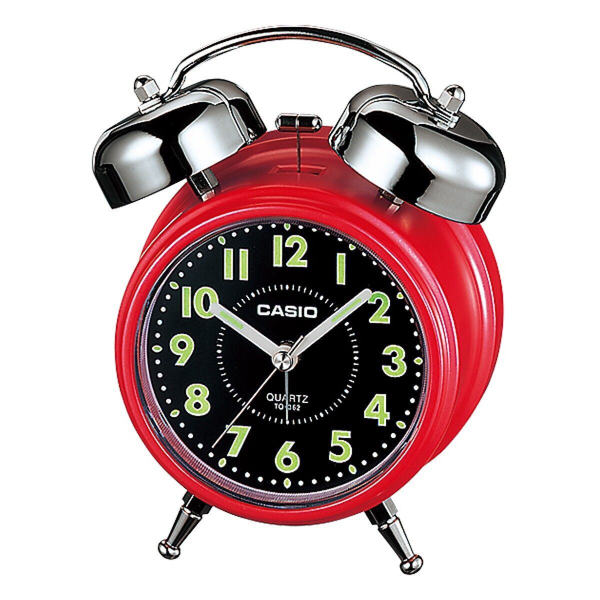 Casio Tq362 4a Red Black Desk Top Bell Snooze Alarm Quartz Clock W Battery