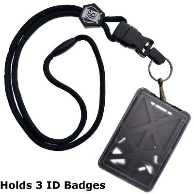 Specialist ID THREE Card Heavy Duty Plastic Badge Holder with Lanyard - Top Load - Lanyard Holder
