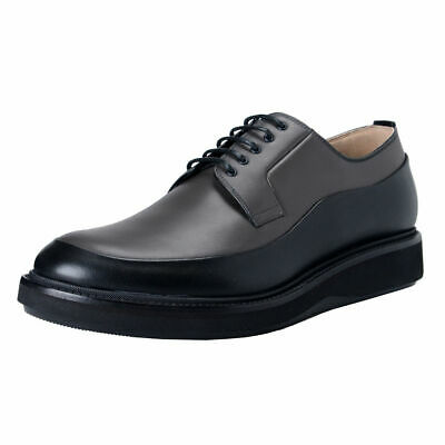 Dior Men's Gray Black Leather Derby Oxfords Shoes Sz 7 8 8.5 9 10