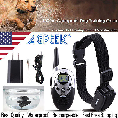 1000Yard Waterproof Shock Vibrate Remote Training Collar for Large Med Small Dog