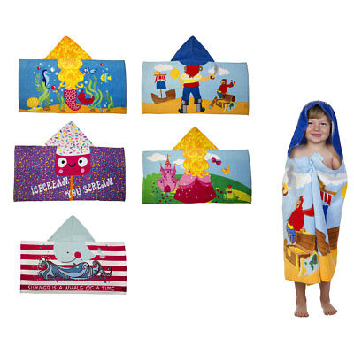 Kids Hooded Poncho Towel Pool Beach Bath Pirate Whale Mermaid Shark Princess (Princess Hooded Bath Towel)