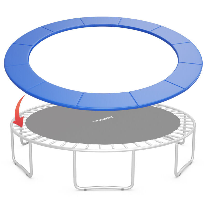 16FT Trampoline Replacement Safety Pad Bounce Frame Waterproof Spring Cover Blue