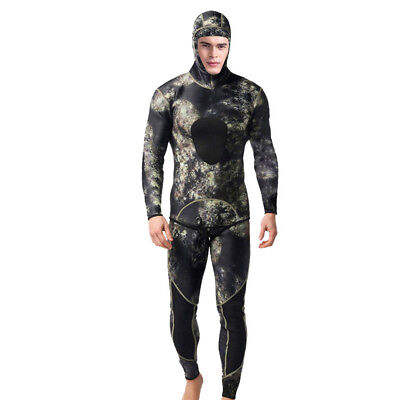 3MM Camo Neoprene Diving Wetsuit Two-Piece Fullsuit with Hood Jacket & Long John