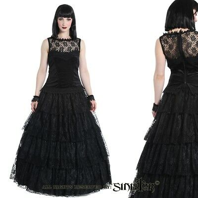 Sinister Gothic Plus Size Black 4 Tier Lace & Satin Long Layered Skirt M-1X 2X](Plus Size Tulle Skirt)