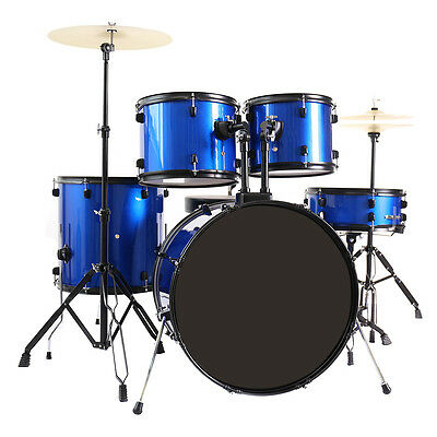 New 5-Piece Full Size Complete Adult Drum Set +Cymbal+Throne Blue