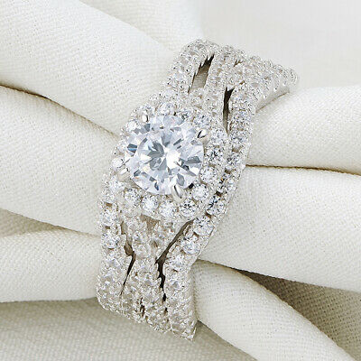 Halo Wedding Set - Newshe Engagement Wedding Ring Set Women 925 Sterling Silver Round White Cz 5-10
