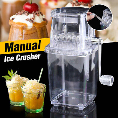 Portable Manual Ice Crusher Shaved Ice Machine Manual Hand Crank Operated Easy