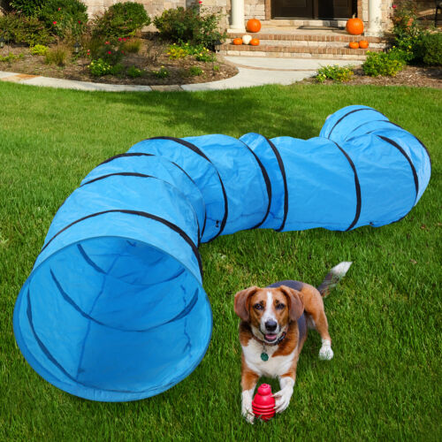 Dog Agility Equipment Training Tunnel Outdoor Oxford Cloth Pet Exercise Run Blue