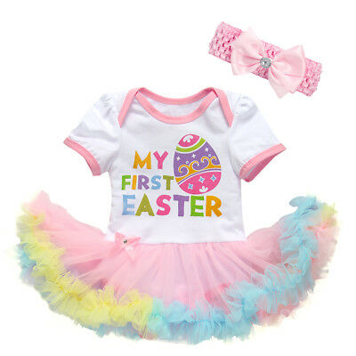 My First Easter Eggs Romper Dress + Headband Outfits Set for Toddler Baby Girls (Easter For Toddlers)