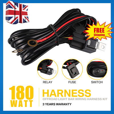 LED HID Wiring Loom Harness Work Driving light bar 12V 40A Relay Switch kit