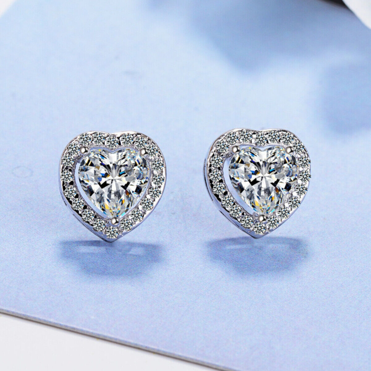 Jewellery - Heart Crystal Stone Stud Earrings 925 Sterling Silver Womens Girl Jewellery Gift