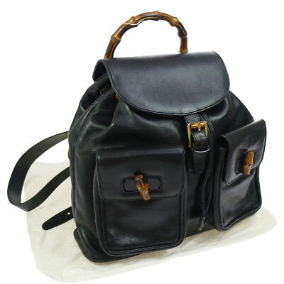 Authentic GUCCI Bamboo Line Backpack Black Leather Vintage GHW GOOD AK25415b