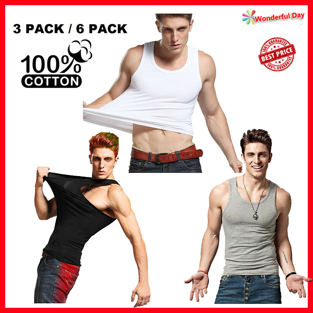 3-6 Packs Mens 100% Cotton Tank Top A-Shirt Wife-Beater Unde