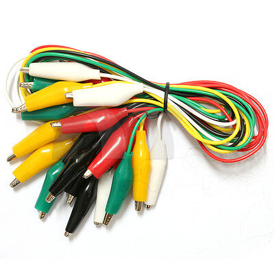 10 Pcs Dual-head Samll Alligator Crocodile Clip Test Lead Jump Wire 5-color 20