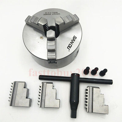 Lathe Chuck 125mm 3-jaw Metal Chuck 3jaw 5inch Self-centering Hardened Steel Cnc