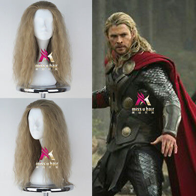 The Avengers Thor Wig Men's Long Curly Ash Blonde Movie Anime Cosplay Wig