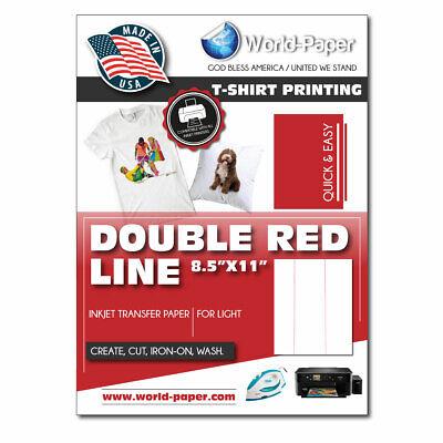 Heat Press Transfer Paper Inkjet Light Double Red Line 25 Sheets 8 .5 X 11