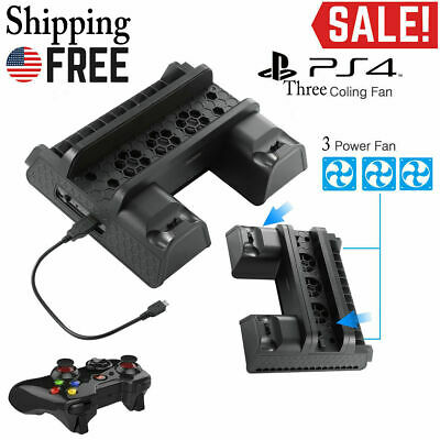 PS4 Vertical Stand Charging Station/Game Holder/Cooling Fan for PS4/Slim/Pro MA